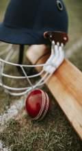 Cricket helmet, cricket bat and ball